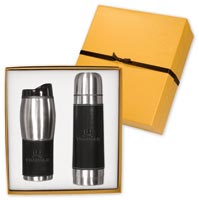 Empire Leather & Stainless Insulated Bottle  & Tumbler Set