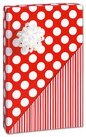 "Red Dot and Stripe Reversible Gift Wrap, 30"" x 208"